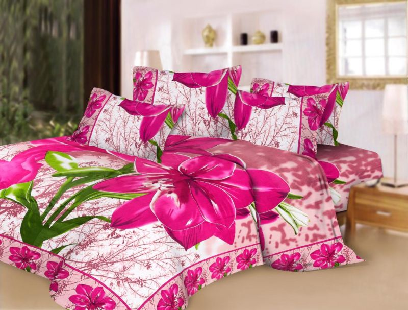 Pure Cotton Pink Fl Print Double Bed Sheet Set